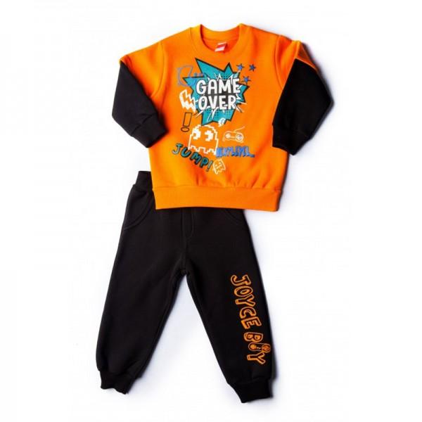 Σετ φούτερ παντελόνι - μπλούζα με τύπωμα GAME OVER, πορτοκαλί - μαύρο