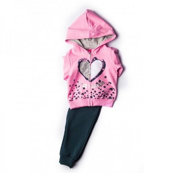 Σετ φούτερ παντελόνι - ζακέτα με σχέδιο χνουδωτή καρδιά, ροζ - σκούρο μπλε
