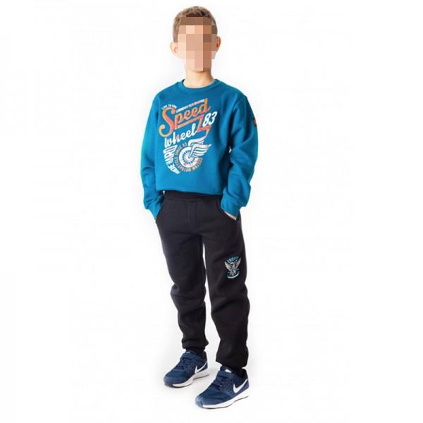 Σετ φούτερ παντελόνι - μπλούζα με τύπωμα SPEED, πετρόλ - μπλε