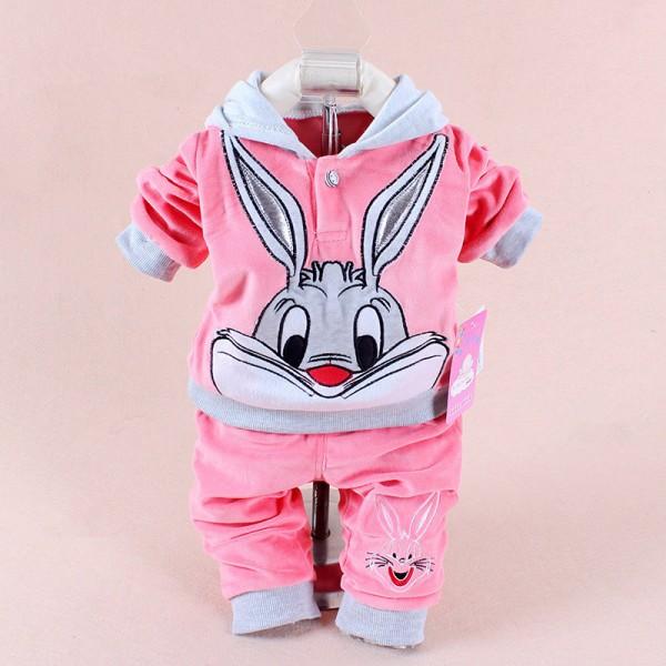 Σετ coral fleece παντελόνι - μπλούζα με κουκούλα, με σχέδιο BUGS BUNNY, ροζ