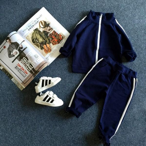 Σετ παντελόνι - ζακέτα με τσέπες, σκούρο μπλε