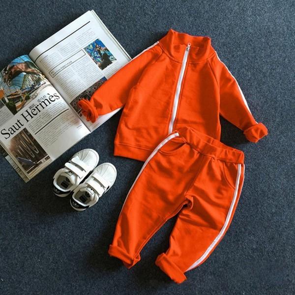 Σετ παντελόνι - ζακέτα με τσέπες, πορτοκαλί