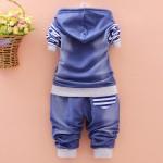 Σετ παντελόνι - μπλούζα με ραμμένα αστέρια, τσέπη και κουκούλα, τζιν look - μπλε ριγέ