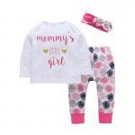 Σετ μπλούζα, παντελόνι και κορδέλα με στάμπα 'Mommy's LITTLE girl', λευκό - ροζ