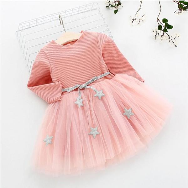 Φορεματάκι μακρυμάνικο με τούλι, ζώνη και ασημί αστέρια, ροζ