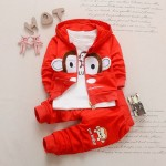 Σετ 3 τεμαχίων, παντελόνι, μπλούζα μακρυμάνικη και ζακέτα με κουκούλα, με σχέδιο πιθηκάκι, κόκκινο