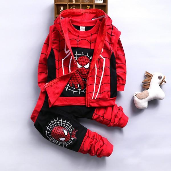 Σετ 3 τεμαχίων, παντελόνι, μπλούζα μακρυμάνικη και αμάνικη ζακέτα με κουκούλα, με σχέδιο SPIDERMAN, κόκκινο - μαύρο