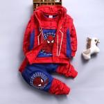 Σετ 3 τεμαχίων, παντελόνι, μπλούζα μακρυμάνικη και αμάνικη ζακέτα με κουκούλα, με σχέδιο SPIDERMAN, κόκκινο - μπλε