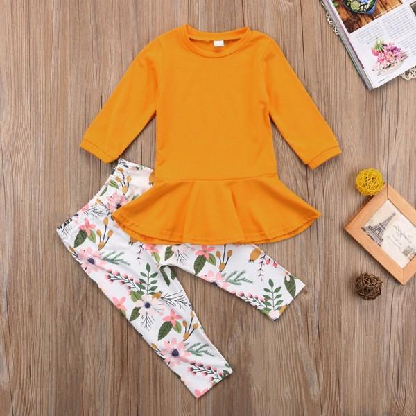 Σετ παντελόνι - μπλουζοφόρεμα με μανίκι 3/4, καφέ-μουσταρδί, φλοράλ