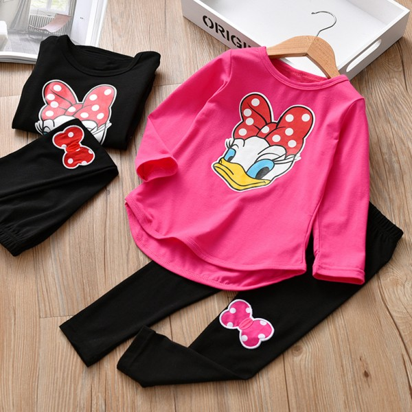 Σετ μπλούζα - κολάν με στάμπα Νταίζυ, ροζ - μαύρο