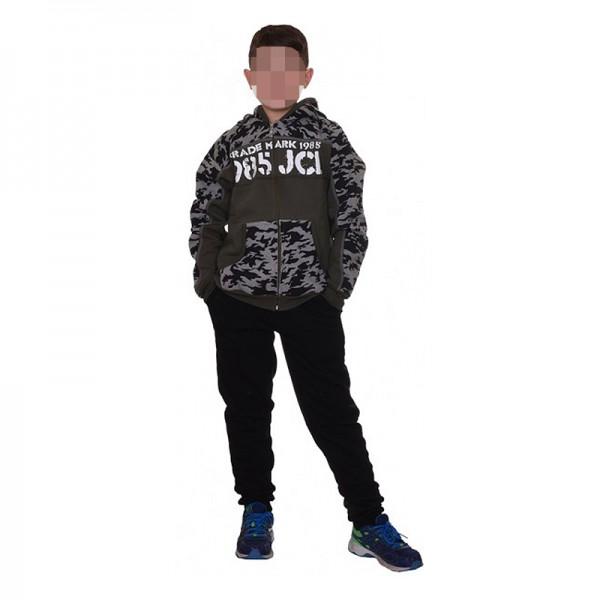 Σετ φούτερ παντελόνι - ζακέτα με τύπωμα, κουκούλα και τσέπες, χακί παραλλαγή - μαύρο