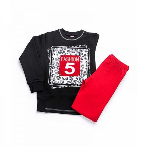 Σετ φούτερ κολάν - μπλούζα με ιδιαίτερο λεοπάρ τύπωμα και ασημί κλωστή, μαύρο - κόκκινο