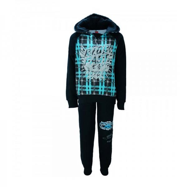 Σετ φούτερ παντελόνι - μπλούζα με τύπωμα κουκούλα και ιδιαίτερη λεπτομέρεια στο παντελόνι, μαύρο - γαλάζιο