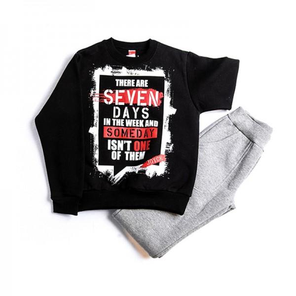 Σετ φούτερ παντελόνι - μπλούζα με τύπωμα, μαύρο - γκρι