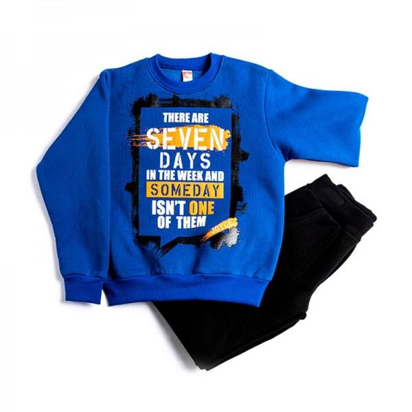Σετ φούτερ παντελόνι - μπλούζα με τύπωμα, μπλε - μαύρο