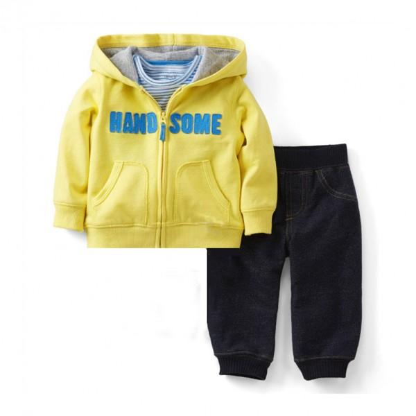 Σετ παντελόνι - ζακέτα με κουκούλα και τύπωμα 'HANDSOME', κίτρινο - μαύρο τζίν look