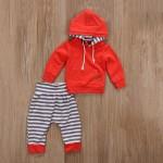 Σετ παντελόνι - μπλούζα με κουκούλα και τσέπη, κόκκινο - ριγέ