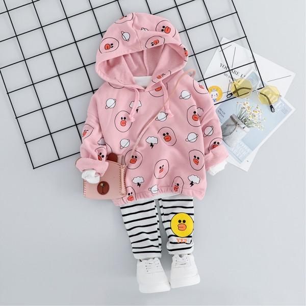 Σετ κολάν - μπλούζα με κουκούλα και σχέδιο παπάκια, ροζ - λευκό/μαύρο ριγέ