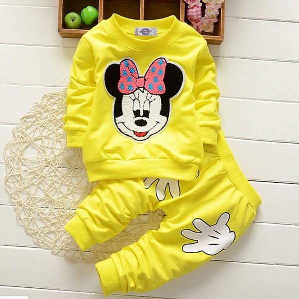 Σετ παντελόνι - μπλούζα μακρυμάνικη με απλικέ σχέδιο Μίνι και χεράκια, κίτρινο