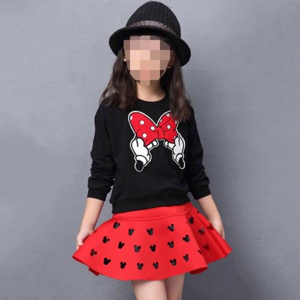 Σετ μπλούζα - φούστα Μίνι με απλικέ φιόγκο και λεπτομέρειες Μίνι στη φούστα, μαύρο - κόκκινο