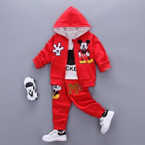 Σετ 3 τεμαχίων, παντελόνι, μπλούζα μακρυμάνικη και ζακέτα με κουκούλα, τσέπες και σχέδιο Μίκυ, κόκκινο