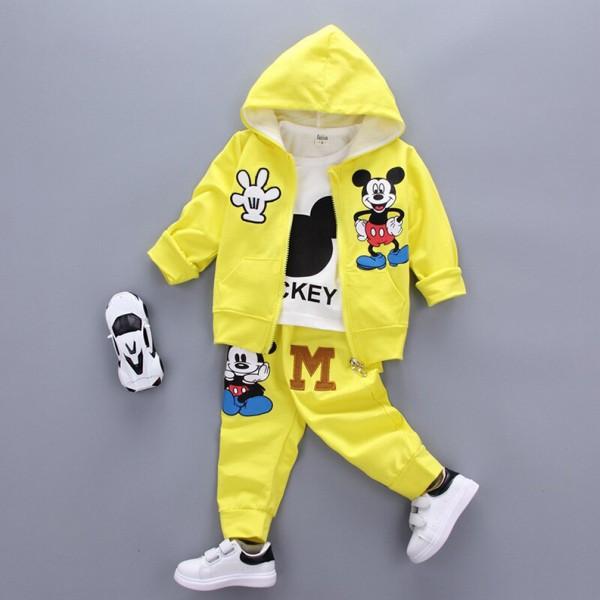 Σετ 3 τεμαχίων, παντελόνι, μπλούζα μακρυμάνικη και ζακέτα με κουκούλα, τσέπες και σχέδιο Μίκυ, κίτρινο