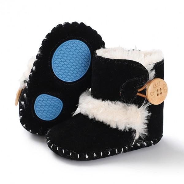 Βρεφικά μποτάκια αγκαλιάς με γούνα εσωτερικά, κουμπί στο πλάϊ και αντιολισθητικές σόλες, μαύρα
