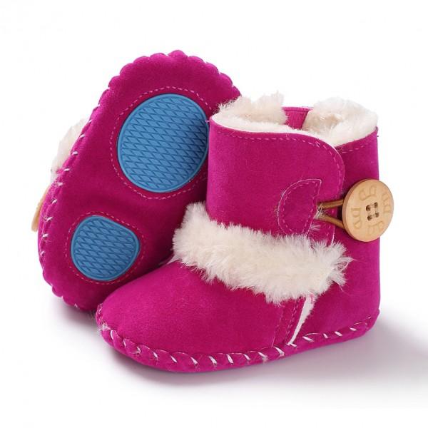 Βρεφικά μποτάκια αγκαλιάς  με γούνα εσωτερικά, κουμπί στο πλάϊ και αντιολισθητικές σόλες, φούξια