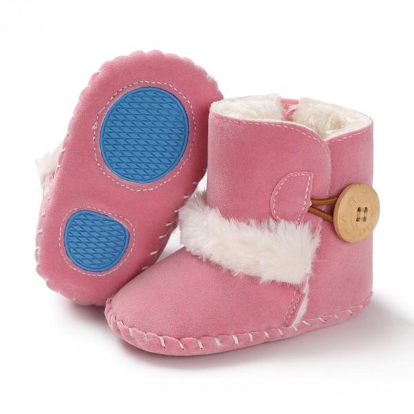 Βρεφικά μποτάκια αγκαλιάς με γούνα εσωτερικά, κουμπί στο πλάϊ και αντιολισθητικές σόλες, ροζ