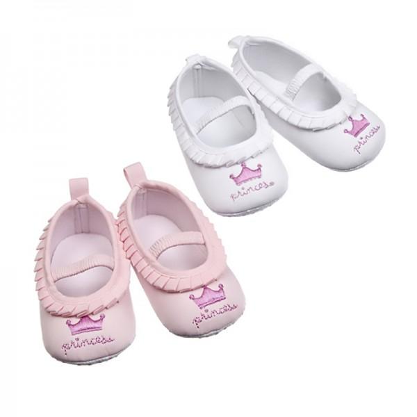 Βρεφικά παπουτσάκια αγκαλιάς με θέμα Princess, σε ροζ και λευκό χρώμα