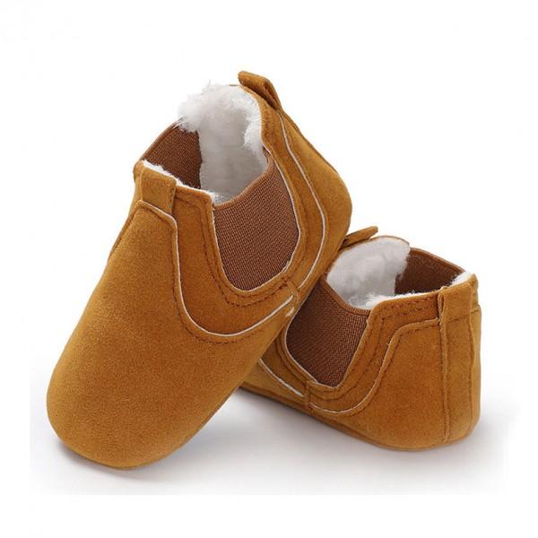 Βρεφικά παπουτσάκια αγκαλιάς με γούνα εσωτερικά και αντιολισθητικές σόλες, καμηλό