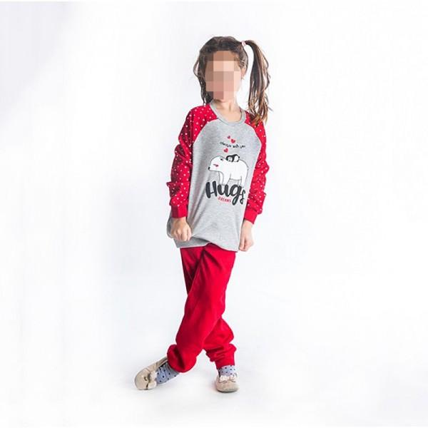 Πιτζάμες με σχέδιο αρκουδάκι, γκρι - κόκκινο