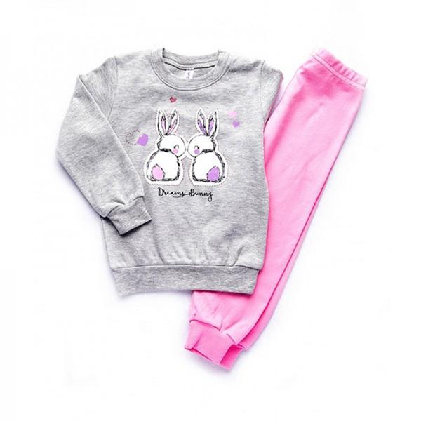 Πιτζάμες με σχέδιο λαγουδάκια, γκρι - ροζ