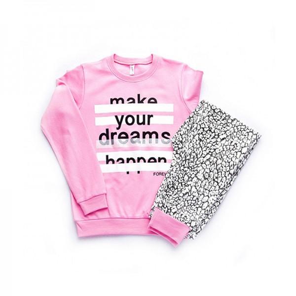 Πιτζάμες με τύπωμα, ροζ - λεοπάρ