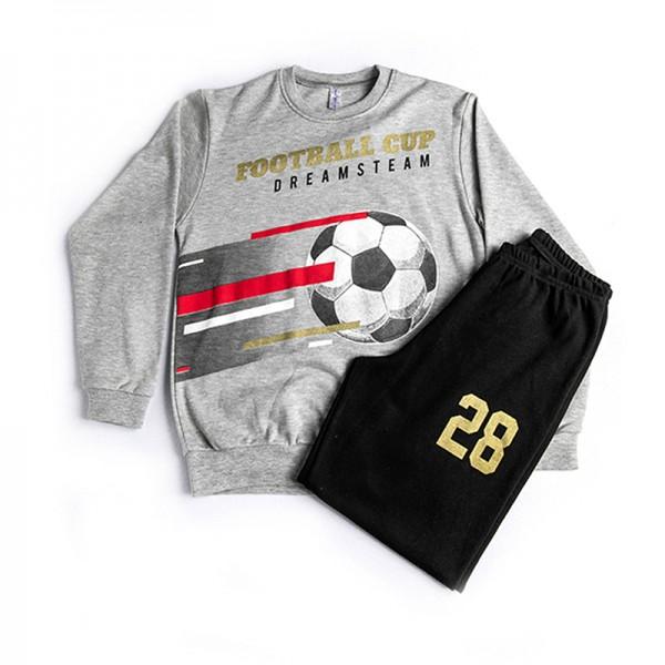 Πιτζάμες με τύπωμα μπάλα ποδοσφαίρου, γκρι - μαύρο