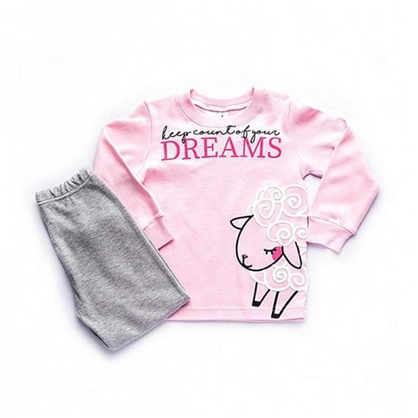Πιτζάμες με σχέδιο προβατάκι, ροζ - γκρι