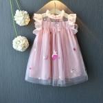 Φόρεμα με τούλι, κεντημένους μονόκερους και δαντέλα στα μανίκια, ροζ