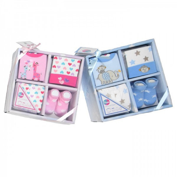 Σετ δώρου 4 τεμαχίων νεογέννητο έως 6 μηνών, αγοράκι ή κοριτσάκι