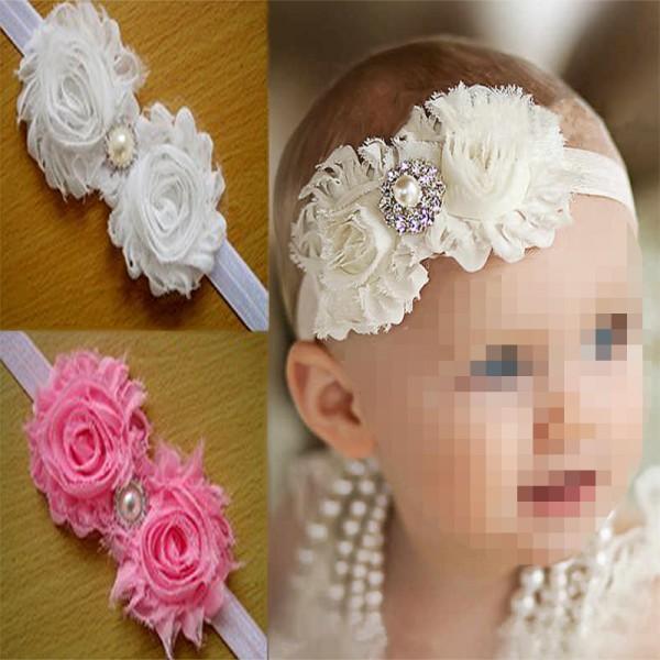 Κορδέλα για τα μαλλιά με διπλό λουλούδι και πέρλα σε 3 χρώματα