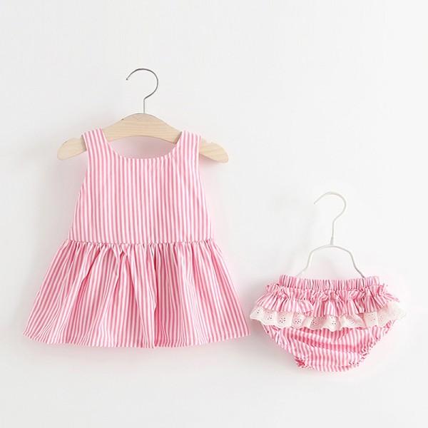 Σετ βρακάκι με δαντέλα - φόρεμα με φιόγκο, ροζ ριγέ