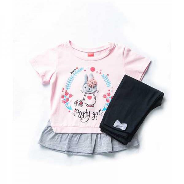 Σετ κολάν κάπρι - μπλούζα κοντομάνικη με ραμμένο λαγουδάκι και λεπτομέρεια στη μέση, ροζ - μπλε navy