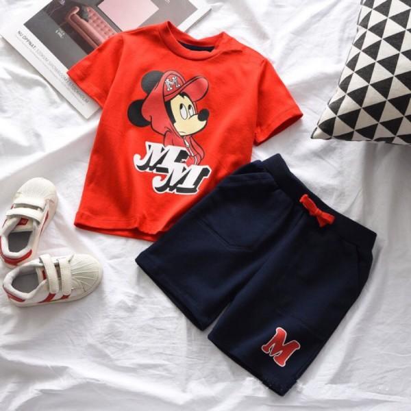 Σετ μπλούζα - κοντό παντελoνάκι με τσέπες και τύπωμα Μίκυ, κόκκινο - μπλε navy