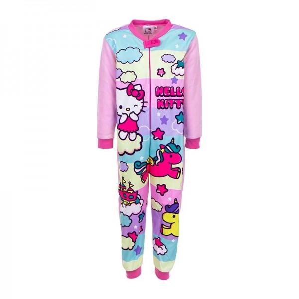 Ολόσωμη φόρμα - πιτζάμα fleece με θέμα Hello Kitty, πολύχρωμη