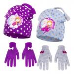 Σετ σκούφος με επένδυση και γάντια με θέμα Frozen και φιογκάκια, σε 2 χρώματα