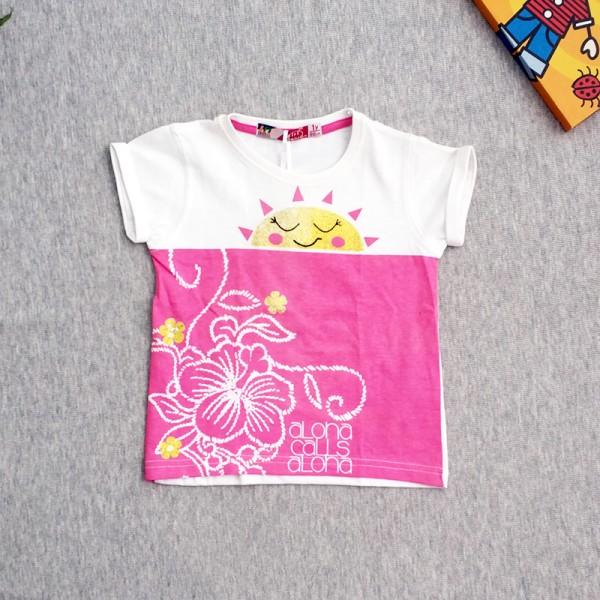 Μπλούζα κοντομάνικη με στάμπα, ροζ - λευκή