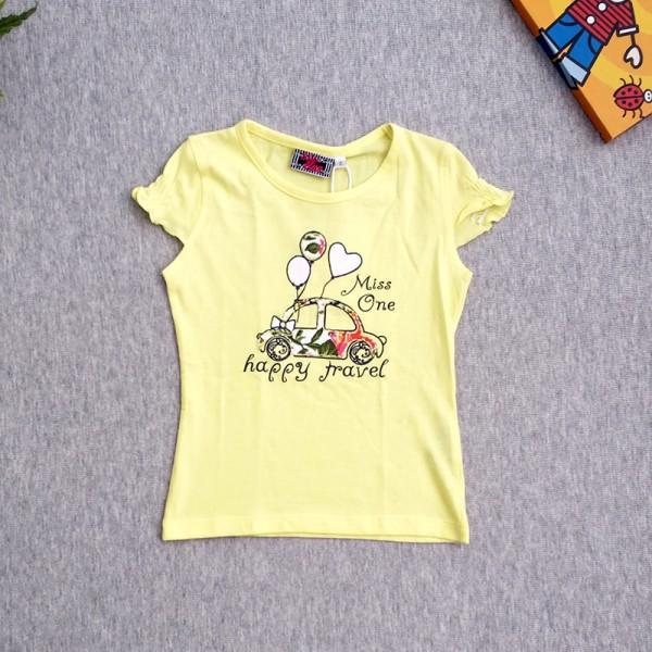 Μπλούζα κοντομάνικη με στάμπα, κίτρινη