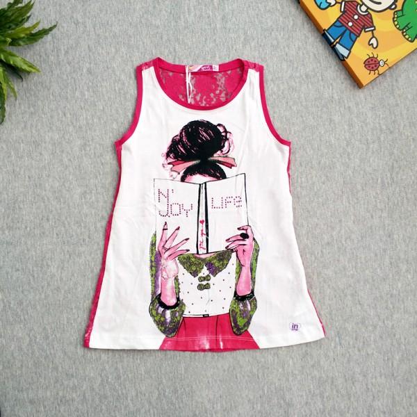 Μπλουζοφόρεμα κοντομάνικο με στάμπα και δαντέλα στην πλάτη, λευκό - ροζ