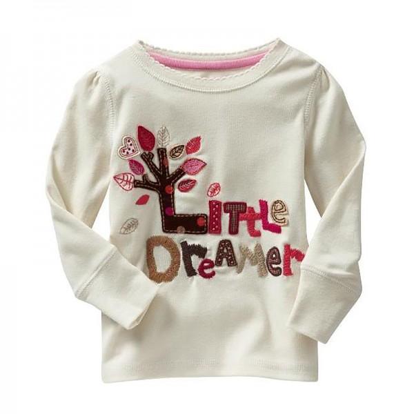 """Μπλούζα μακρυμάνικη, με ραμμένο """"Little Dreamer"""" και δεντράκι, λευκή"""