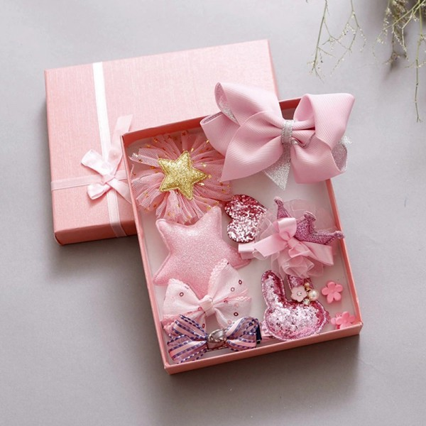 Σετ 10 τεμαχίων κορδέλα και κλιπς για τα μαλλιά, σε διάφορα σχέδια και ροζ χρώμα