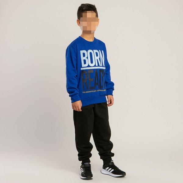 Σετ φούτερ παντελόνι - μπλούζα με τύπωμα, μπλε ρουά - μαύρο
